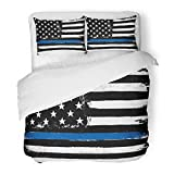 SanChic Duvet Cover Set America Thin Blue Line Black Flag Police Glory Hero Honor Officer Decorative Bedding Set 2 Pillow Shams King Size