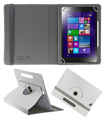Acm Rotating 360 Leather Flip Case Compatible with Lenovo Miix 3 8 Tablet Cover Stand White
