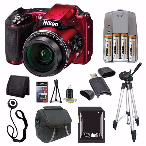 Nikon COOLPIX L840 Digital Camera (Red) (International Model) + 4 AA Pack NiMH Rechargeable Batteries Charger + 32GB SDHC Card + Case + Tripod Saver Bundle