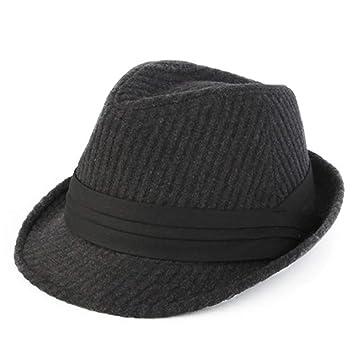 HAXGL Sombrero De Dama Sombrero Trilby De Rayas para Hombres Sombreros Otoño Invierno Ancho ala Caballero Jazz Gorras Homme, Negro: Amazon.es: Jardín