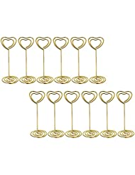 bememo gold heart shape photo holder stands table number holders place card paper menu clips for weddings 12 pack