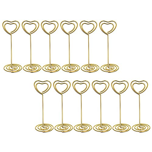 Bememo Gold Heart Shape Photo Holder Stands Table Number Holders Place Card Paper Menu Clips Weddings, 12 Pack