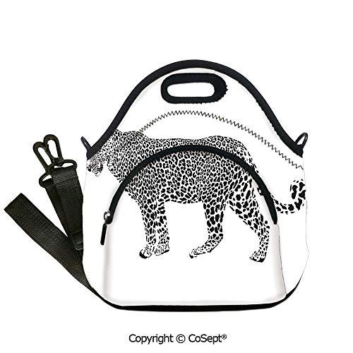 Neoprene Lunch Tote Bag Washable Lunchbox Bag,Jaguar Leopard Predator Spots Camouflage Design Fashionable Illustration Black and White,with Zipper Pocket and Adjustable Detachable ()
