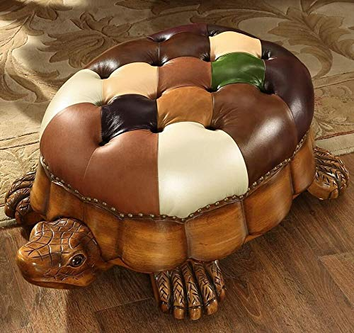 (QTKK Turtle Solid Wood Footstool,American Leather seat Stool Creative Shoe Change with Wheels Furniture 360 Degree Rotation-A 84x60x33cm(33x24x13inch))