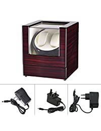 Watch Winder Automatic Quad Watch Display Case Watch Box Rotates in 3 Directions Whisper Quiet Operation 4 Programs For 2 Watches Quality Workmanship Ebony Grain High-gloss Paint (Single Motor)