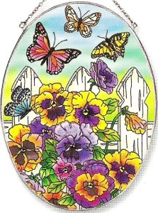 Amia Oval Suncatcher with Butterfly and Pansy Floral Design, Hand Painted Glass, 6-1/2-Inch by 9-Inch ()