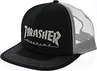 Thrasher Magazine Logo Embroidered Black / Silver Mesh Trucker Hat - Adjustable