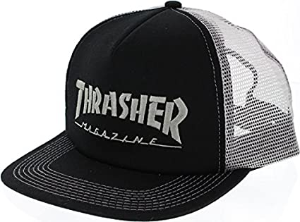 c8917cf5bd7 Image Unavailable. Image not available for. Color  Thrasher Magazine Logo  Embroidered Black   Silver Mesh Trucker Hat ...