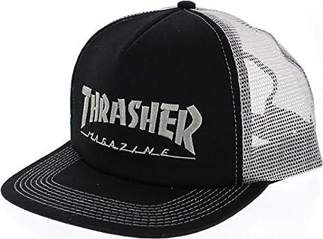 804e7537755 Amazon.com  Thrasher Magazine Logo Embroidered Black   Silver Mesh ...
