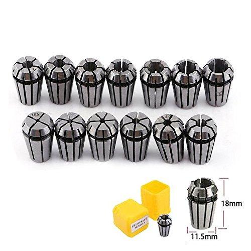 ER11 Collet Set, TopDirect 13pcs ER11 1-7mm Spring Collet Set Chuck Collet for CNC Spindle Engraving Machine & Milling Lathe Tool