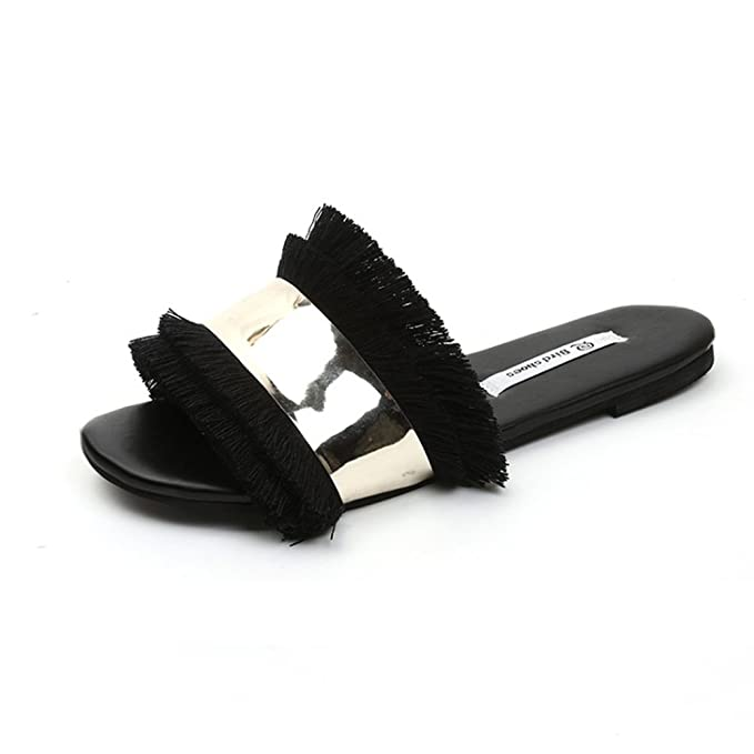 b8be58fff4760 Image Unavailable. Image not available for. Color  Fringe Slide Sandals  Women Casual Slippers Open Toe Glitter Beach Flat Shoes