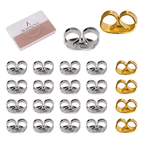 BEADNOVA Stainless Steel Earring Backs Safety Surgical Ear Nut for Posts (210pcs, Sliver -