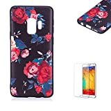 Funyye Relief Rubber Case for Samsung Galaxy S9,Stylish Red Flowers Pattern Soft Silicone TPU Gel Cover for Samsung Galaxy S9,Slim Fit Shockproof Non Slip Back Cover Smart Shell Protective Case for Samsung Galaxy S9 + 1 x Free Screen Protector