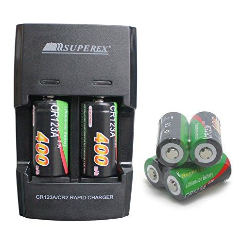 SUPEREX® 6 PCS 3v 400 mAh CR123A 16340 Battery + Car