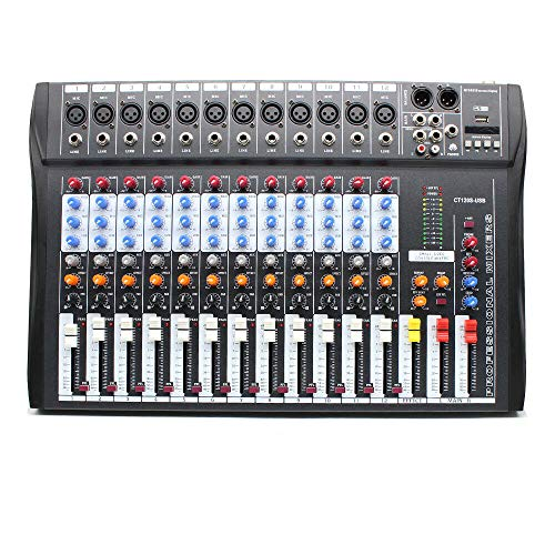 (WUPYI 12 Channel Professional Powered Mixer with USB Slot Power Mixing,Professional Mixer Live Studio Audio Sound Mixing Console with XLR, LINE Inputs and 48V Phantom Power)