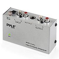 Pyle Phono Turntable Preamp - Preamplificador con mini fonógrafo de audio estéreo electrónico con entrada RCA, salida RCA y funcionamiento con bajo ruido alimentado por un adaptador de CC de 12 voltios (PP444)