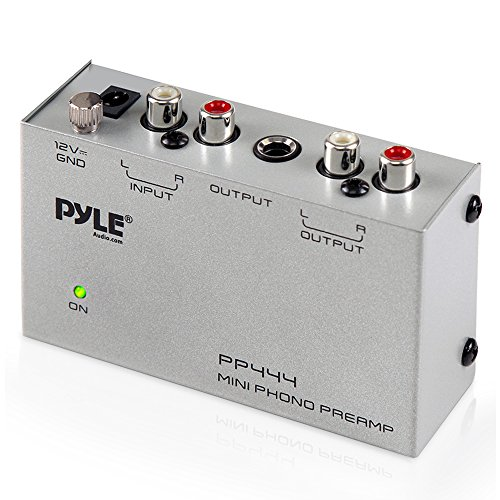 - Pyle Phono Turntable Preamp - Mini Electronic Audio Stereo Phonograph Preamplifier with RCA Input, RCA Output & Low Noise Operation Powered by 12 Volt DC Adapter (PP444)
