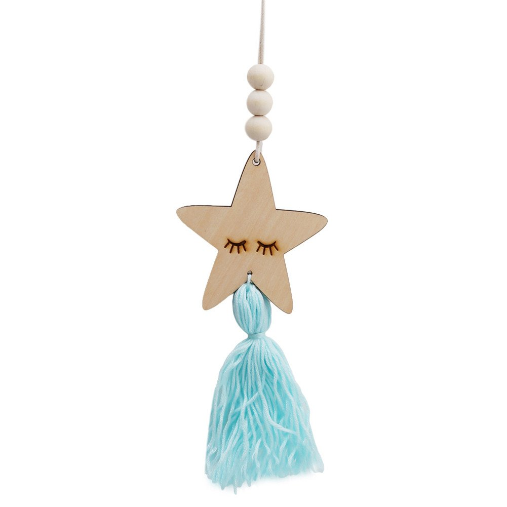 ODN Nordic Style Cute Star Shape Wooden Beads Tassel Pendant Kids Room Decor Wall Hanging Ornament for Photography (Light Blue)