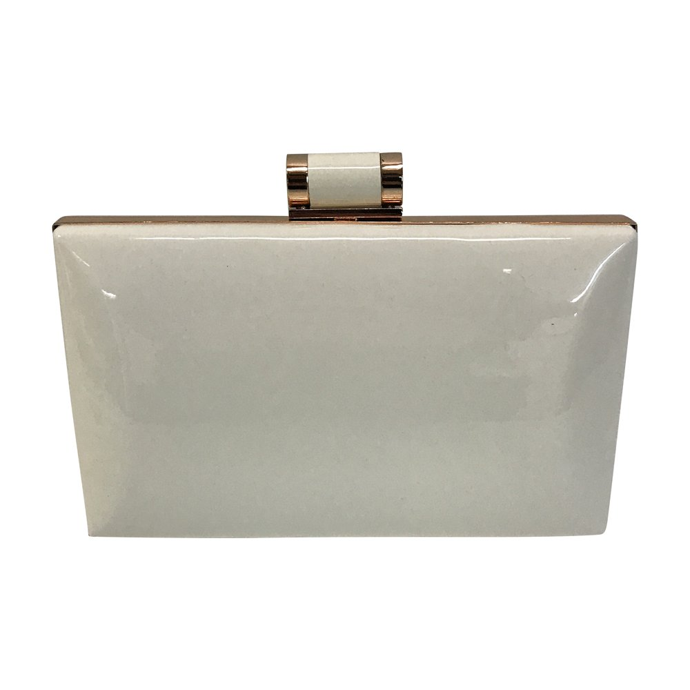 Women's Shiny Solid Patent Rectangular Box Clutch with Top Clasp (White)