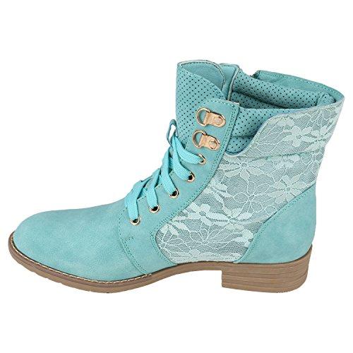 Stiefelparadies Damen Stiefeletten Schnürstiefeletten Worker Boots Zipper Schuhe Flandell Hellgrün Autol