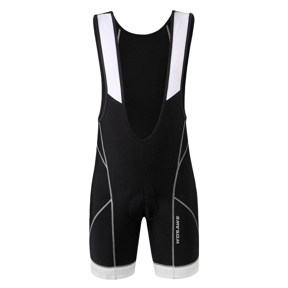 WOSAWE Men's 4D Gel Padded Cycling Bib Shorts Breathable Quick Dry Lightweight Black/White (White Bottom, X-Large)