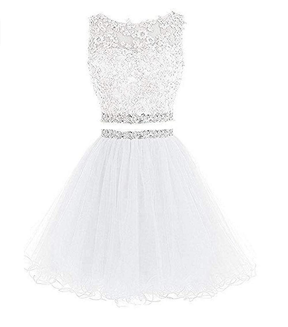 Lace appliqu/é Flower Dress Two-Piece Design Prom Dress Up and Down Dress