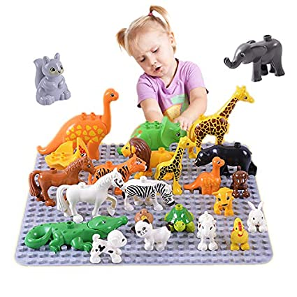 Duplos Dinosaur Building Blocks Lego Figures Elephant Big Particles Toys Kids