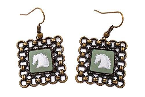 Wedgwood Cameo Earrings (Wedgwood: Brass & Green Jasperware Earrings