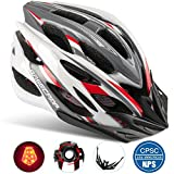 Cheap Basecamp Specialized Bike Helmet with Safety Light,Adjustable Sport Cycling Helmet Bicycle Helmets for Road & Mountain Motorcycle for Men & Women,Youth Safety Protection (WhiteRedGrey-BigLight)