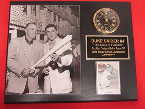 Duke Snider Brooklyn Dodgers Collectors Clock Plaque w/8x10 RARE Photo and Card