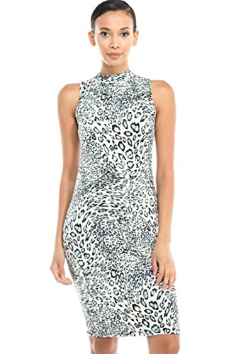 2LUV Women's Mix Print Mock Turtleneck Bodycon Midi Dress Gray & White M
