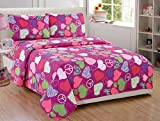 Fancy Collection 3pc Twin Size Girls/Teens Sheet Set Hot Pink Purple Light Green White Black Zebra Print Peace Signs Hearts New # Zebra Heart