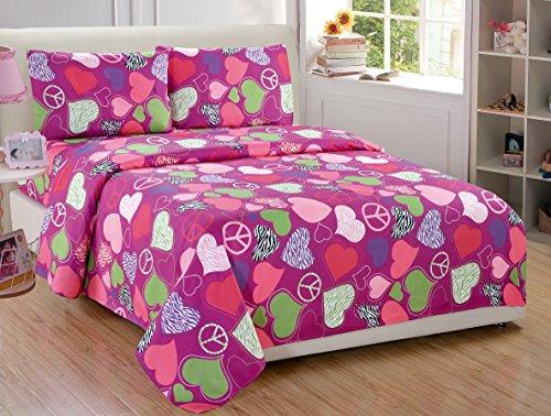 Fancy Collection 3pc Twin Size Girls/Teens Sheet Set Hot Pink Purple Light Green White Black Zebra Print Peace Signs Hearts New # Zebra Heart (Sets Bedding Fancy)