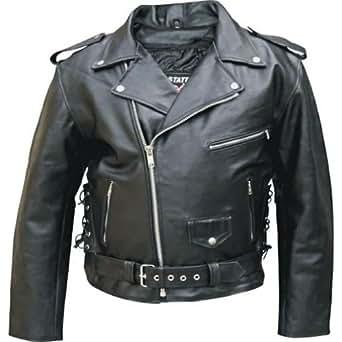 Men's Black Genuine BUFFALO Leather Motorcycle Biker ...