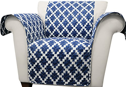 Lush Decor Navy Wellow Ikat Furniture Protector-Geometric Diamond Block Pattern Armchair Cover