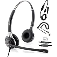 TruVoice HD-750 Premium Corded Double Ear NC Headset With USB and U10P Cable works with Mitel, Polycom VVX, Nortel, Avaya, Shortel, Aastra, Analog Deskphones and PC (Softphone) - Complete Solution
