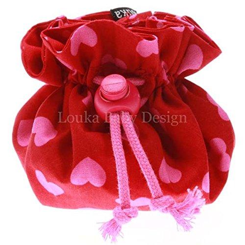 Louka Pochette à Tétine rouge avec cœur rose Baby, Garçon & Fille–Sucette clip Box Boîte pour rangement de la sucette Garçon & Fille-Sucette clip Box Boîte pour rangement de la sucette