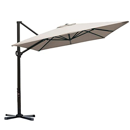Abba Patio Rectangular Offset Cantilever Outdoor Patio Hanging Umbrella With Cross Base, 8 X 10 Feet, Sand by Abba Patio