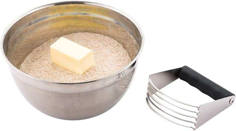 Stainless Steel Pastry Cutter - Dough Blender - Black Plastic Handle - 1ct Box - Pastry Tek - Restaurantware