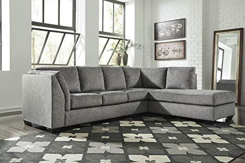 - Ashley Furniture Design - 72305 Belcastel Contemporary LAF Sofa and RAF Corner Chaise - Ash