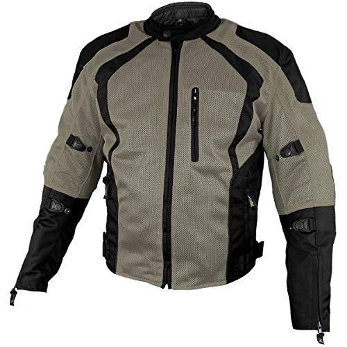 Xelement XS3033 'Cyclone' Men's Black/Grey Mesh Tri-Tex Armored Motorcycle Jacket - -