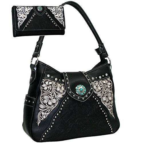Western Turquoise Concho Accented Handbag Purse With Matching Wallet - Black