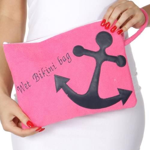 (Knitting Factory Water Proof Cotton Towel Wet Bikini Bag Anchor Selection (Anchor-Hot Pink))