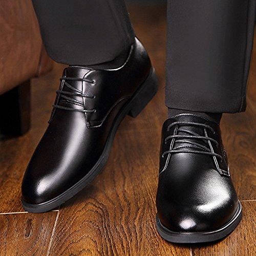 Koyi Black Hombres Transpirable de de de de Primavera Baja Antideslizante con los la Zapatos de Vestir Parte de de Zapatos Ayuda Zapatos Goma los Coreanos Vestir Inferior rqcAyWrF