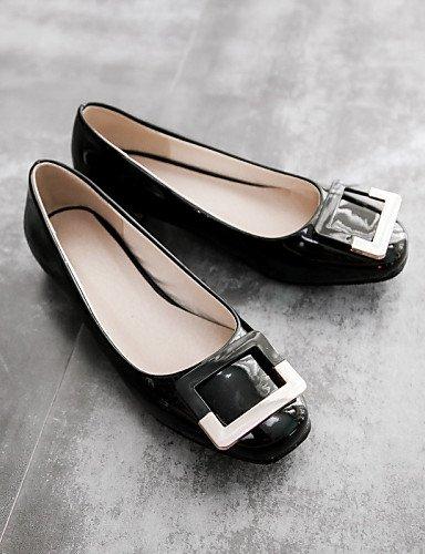 rojo almendra eu40 plano cn41 de charol Flats mujer de carrera uk7 red casual vestido punta oficina negro talón redonda us9 y zapatos PDX xR4Tqwan