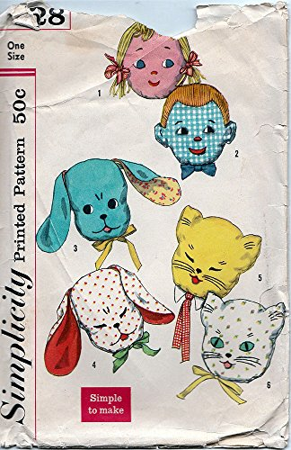Simplicity 2328 Set of Pillows, Stuffed Animal Heads, Embroidered and Appliqued Faces, Boy, Girl, Dog, Cat, Open or Closed Eyes Vintage Sewing Patter