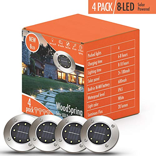 Solar Lights Outdoor | Pathway Disk Lights | 4 Pack 8-LED Solar Powered Waterproof Exterior for Patio Deck Yard Garden Path Pool Home Driveway Stairs Step (White-2018 Upgraded)