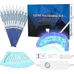 Teeth Whitening Kit Professional, Teeth Whitening Strips, Non-Sensitive Stain Remover for White Teeth, Led Accelerator Light,10 of 3 ml Tooth Whiten Gel,15 Min Express Result