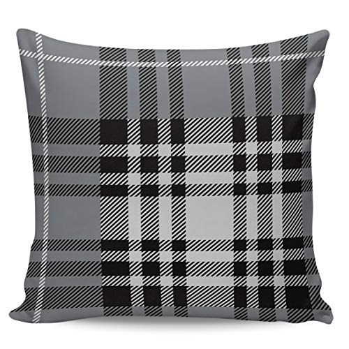 Liberkin Throw Pillow Cases Decorative Soft Square Polyester Pillowcases Pillow Cover Sham Cushion Case for Sofa, 26 x 26 Gordon Plaid ()