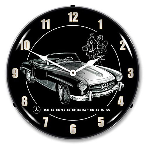 (New Mercedes Retro Vintage Style Advertising Backlit Lighted Clock - Ships Free Next Business Day to Lower 48 States )